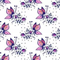 蝴蝶玫瑰花平铺图
