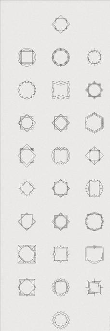 黑白矢量简约多边形相框