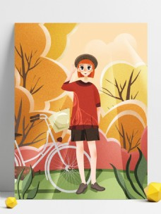 黄色插画夏季短袖女孩自行车背景设计