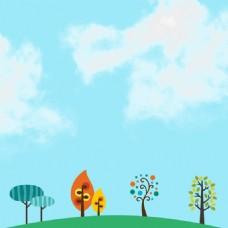 卡通小清新春季背景素材
