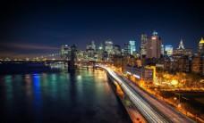 城市江边夜景
