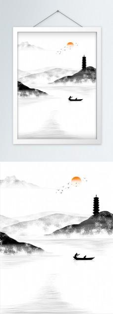 新中式山水山川宝塔客厅装饰画