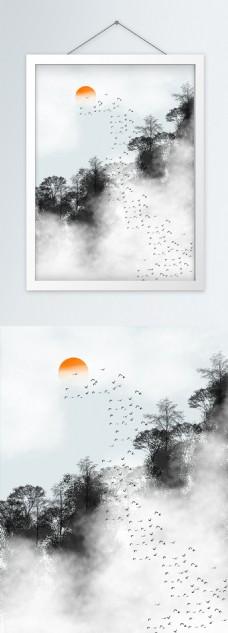 中式浓雾山川森林风景客厅装饰画