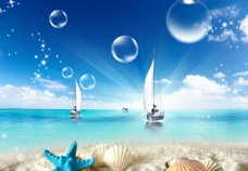 蓝天白云沙滩
