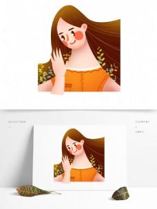 手绘卡通时尚女孩装饰素材