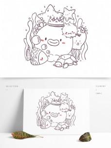 简笔画单色卡通可爱动物浅海动物
