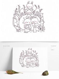 简笔画单色卡通可爱动物小兔