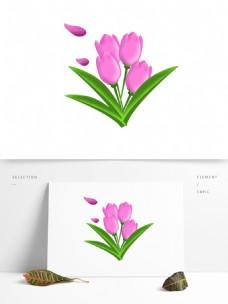 春天元素紫色花朵郁金香绿叶手绘简约风8