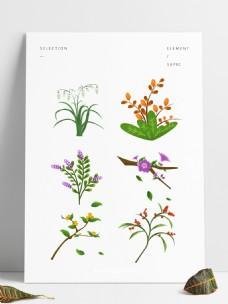 春天元素花朵花枝花卉绿叶手绘简约风
