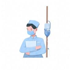 现代劳动人物之扁平风护士工作场景免抠素材