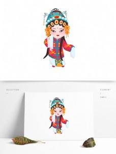 可商用高清手绘卡通京剧人物青衣