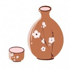 棕色日本清酒瓶子插画