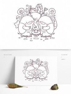 简笔画单色卡通可爱动物小猪
