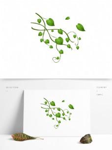 春天元素绿叶飘落手绘简约风4