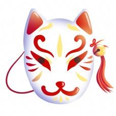 日系狐狸面具插画