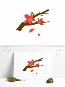 春天元素红色花朵花枝花卉绿叶手绘简约风6