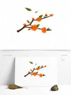 春天元素花朵花枝花卉绿叶手绘简约风3