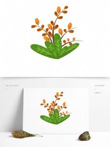 春天元素橙色花朵花枝花卉绿叶手绘简约风1