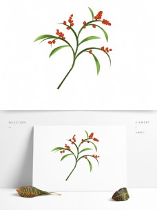 春天元素红色花朵花枝花卉绿叶手绘简约风