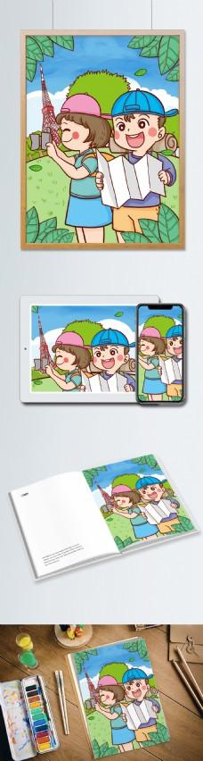 旅游季节春天踏青男孩查地图女孩拍照插画