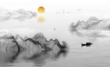 新中式抽象线条山水图案