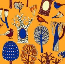 树洞小鸟平铺图案