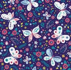 紫色底蝴蝶平铺图
