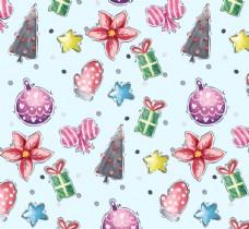 彩绘圣诞元素无缝背景