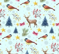 彩绘驯鹿和鸟无缝背景