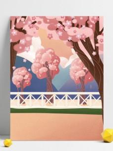 手绘日本樱花园背景设计