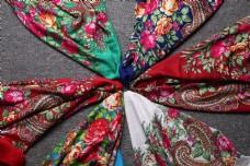春秋多彩棉麻围巾方巾26