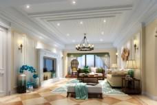 美式简约客厅效果图3D模型