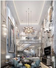 现代轻奢别墅客厅效果图3D模型