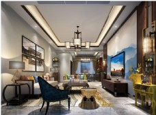 中式客厅效果图3D模型