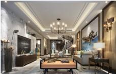 新中式客厅效果图3D模型