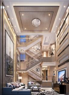 现代简约别墅客厅效果图3D模型