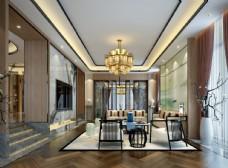 现代轻奢客厅效果图3D模型