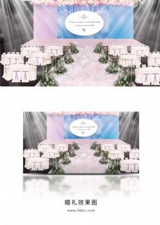 粉红色蓝天白云婚礼效果图