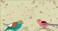 手绘爱情鸟