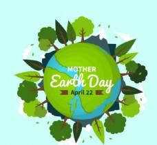 世界地球日长满树木的地球