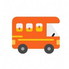 交通工具橙色扁平化汽车房车免扣素材