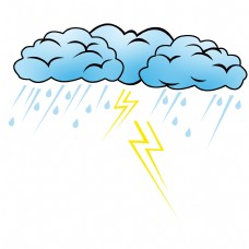雷阵雨卡通天气插画