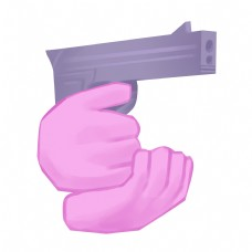 手枪上膛的手势插画