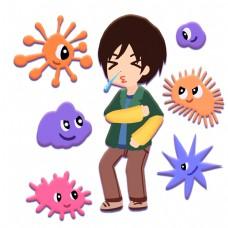 男孩感冒打喷嚏滋生细菌