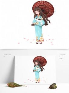 清新可爱樱花节赏樱花的日本少女