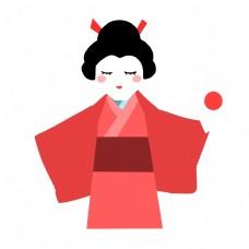 红色的日本人偶插画