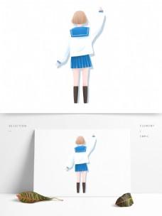 日系清新写黑板的女孩