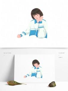 手绘穿着校服的女学生设计