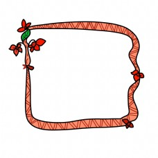妇女节红色小花边框