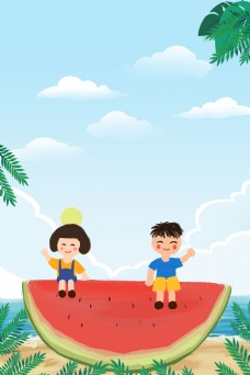 夏日水果促销活动背景模板
